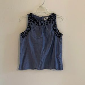 Mexican embroidered chambray tank